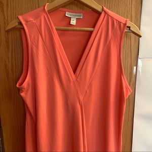 Coral colored v-neck sleeveless blouse NWOT